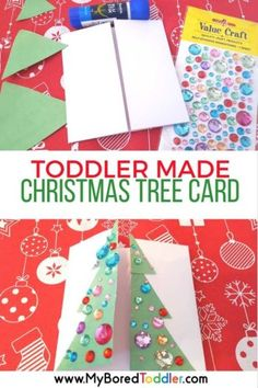 Toddler Made Christmas Tree Card via My Bored Toddler || One of 10 amazing Christmas crafts kids can make for teachers, grandparents and friends! Super easy and very impressive looking! || Christmas Cards Kids Can Make: 10 More Inspiring Ideas! || Another fun Christmas post from Letters from Santa Holiday Blog