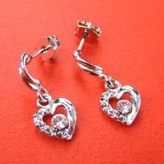 $1 ONE DOLLAR SALE - Diamond Heart Earrings with Rhinestone Detail