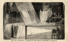 """""""This illustration from the book The Magic Lantern How To Buy And How To Use It and How To Raise A Ghost showing the stage illusion called """"Pepper's Ghost""""."""""""