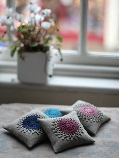 Lavender sachets  crochet motif  set of 2 by Namolio