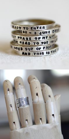 Stack them up! Personalized stacking rings in sterling silver from Praxis Jewelry.