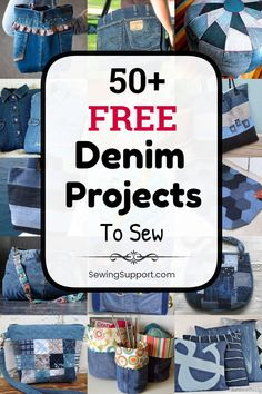 50 denim sewing projects free patterns and tutorials. Recycle and upcycle your old jeans into denim bags aprons pillows toys and more. Great ideas for things to make with denim fabric. Easy Sewing Projects, Sewing Hacks, Sewing Tutorials, Sewing Crafts, Sewing Ideas, Upcycling Projects, Artisanats Denim, Denim Fabric, Denim Quilts