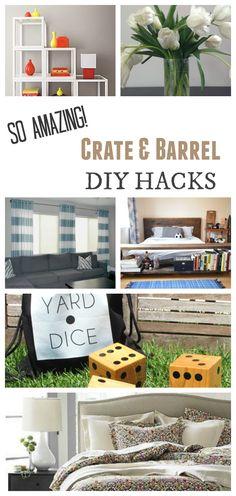 DIY Crate and Barrel Hacks - Painted Furniture Ideas Diy Hanging Shelves, Diy Wall Shelves, Diy Furniture Projects, Diy Home Decor Projects, Decor Ideas, Wood Projects, Diy Ideas, Painting Laminate Cabinets, Crate Desk