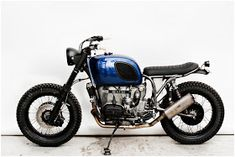 I am no fan of BMW, but a huge fan of the Danes at Wrenchmonkees.The have made this BMW look proper! Bmw R100 Scrambler, Motos Bmw, Scrambler Motorcycle, Bmw Motorcycles, Bobber, Bmw Cafe Racer, Cafe Racers, Custom Bmw, Custom Bikes