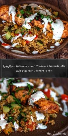 Aus der Pfanne … Skewered chicken on a couscous vegetable mix with a spicy yoghurt dip Tartiflette Recipe, Vegetarian Recipes, Healthy Recipes, Turkey Soup, Food Staples, Low Calorie Recipes, Freezer Meals, Food And Drink, Low Carb