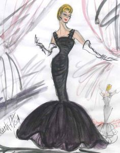 Edith Head sketch for Rosemary Clooney in White Christmas (1954)   #EasyNip