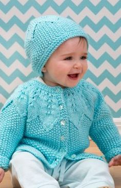 Knitting Patterns Galore - Star Bight Baby Cardigan and Hat
