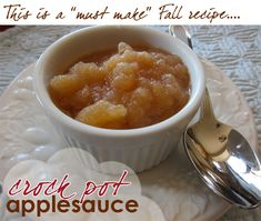 Crock Pot Applesauce - I did make it today and it is so good and soooooo easy!  Used an apple peeler/corer/slicer, 6 apples, 1/4 c. water, 1/4 sugar, pinch of salt and cinnamon, cooked on low for 4 hours, mashed it all together, and it was perfect.  I've never liked store-bought applesauce, but this tastes more like pie filling.