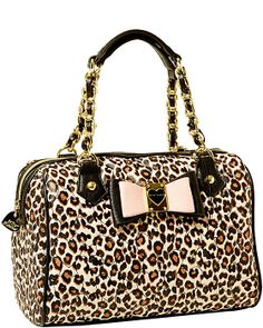 BE MY HONEY BUNS MEDIUM SATCHEL LEOPARD accessories handbags non leather satchels