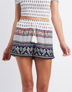 Border Print Crochet-Trim Shorts #CharlotteLook