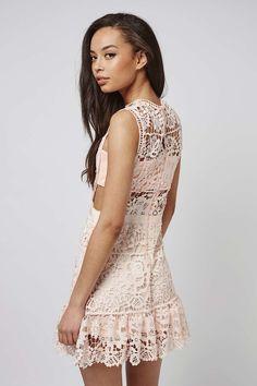 **Crochet Panel Mini Dress by Rare - Rare - Brands - Topshop