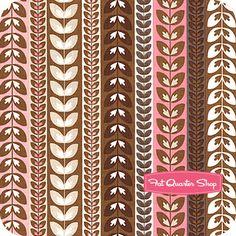 Daisy Cottage Pink Leaf Stripe   Sale Price: $7.35 per yard