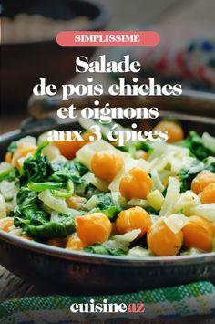 Les salades sont une bonne idée d'entrée pour l'été. Cette salade de pois chiches et oignons aux 3épices prête en moins de 20minutes en est l'exemple. #recette#cuisine#salade#poischiches #epices #ete 20 Minutes, Cantaloupe, Potato Salad, Potatoes, Fruit, Ethnic Recipes, Food, Pasta Salad, Chopped Salads