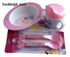 Princess 4pc Cutlery. Plate, Bowl, Sippy cup and fork and spoon.