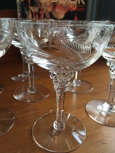 Set of 8 Cut Stem Vintage Champagne Saucers, fern and leaf design. Dated from no name on glasses. Champagne Saucers, Champagne Glasses, Cocktail And Mocktail, Crystal Stemware, Vintage Champagne, Antique Glass, Leaf Design, Vintage Books, French Lady