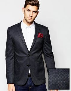 "Suit jacket by ASOS Textured, woven twill Notch lapels Two button opening Lined with internal pocket Functional pockets Optional inbuilt pocket square Slim fit - cut closely to the body Dry clean 64% Polyester, 35% Viscose, 1% Elastane Our model wears a 40""/102 cm and is 188cm/6'2"" tall Comes in a suit bag"