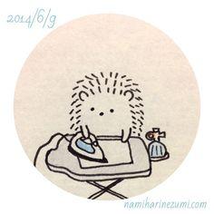 アイロンがけ。#ハリネズミ 173 ironing #hedgehog #illustration #drawing #イラスト #ペン画 #illustagram