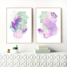 Purple Abstract Art Set of 2 Purple and Green Paintings
