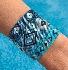Miyuki Cuff Bracelet shades of blue geometric shapes Bead Embroidery Jewelry, Beaded Embroidery, Cuff Bracelets, Bangles, Peyote Stitch, Jewelry Patterns, Loom Beading, Bead Weaving, Shades Of Blue