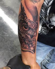Male Owl Sleeve Tattoo Forearm