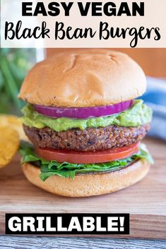 These Vegan Black Bean Burgers are SO easy to make! You only need a few simple ingredients but they're full of flavor and hold together perfectly! You can even cook them on the grill if you want! #veganburger #veggieburger #blackbeanburger #vegan Healthy Vegetarian Meal Plan, Vegetarian Recipes Dinner, Vegan Recipes, Eating Healthy, Lunch Recipes, Delicious Recipes, Easy Recipes, Homemade Veggie Burgers, Gluten Free Buns