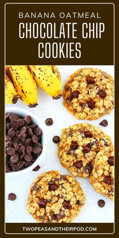 Banana Oatmeal Chocolate Chip Cookies makes cookies that are soft, chewy, and full of flavor! Made with mashed bananas, oats, chocolate chips, vanilla, and cinnamon, this banana chocolate chip cookies are abosolutely the best! Save this adult and kid-friendly recipe! Banana Oatmeal Chocolate Chip Cookies, Chocolate Chip Recipes, Banana Recipes, Chocolate Chips, Best Cookie Recipes, Kid Friendly Meals, Bananas, Cinnamon, The Best