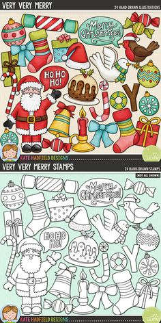 Christmas digital scrapbooking elements. Cute Santa clip art. Hand-drawn illustrations for digital scrapbooking, crafting and teaching resources from Kate Hadfield Designs! Very Very Merry.