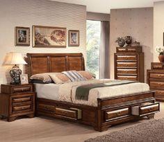 Acme Furniture - Konance Brown Cherry Sleigh Queen Bed - 20450Q