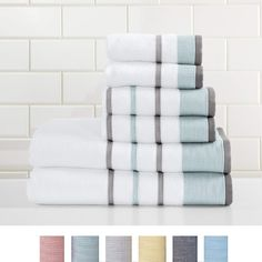 Great Bay Home Turkish Cotton Striped Bath Towels, Luxury 6 Piece Set - 2 Bath Towels, 2 Hand Towels and 2 Washcloths. Best Bath Towels, Bathroom Towels, Bathroom Sets, Master Bathroom, Grey Hand Towels, Striped Towels, Gray And White Bathroom, Grey Bathrooms, Farmhouse Bathrooms