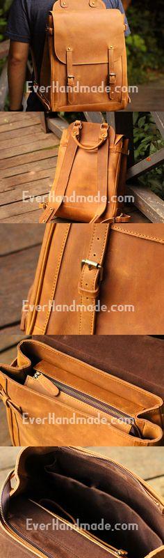 Genuine Leather Mens Cool Backpack Sling Bag Large Black Travel Bag