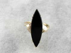 Vintage Black Onyx Ring, Long Marquise Shape in Yellow Gold Setting Black Onyx Ring, Black Rings, Hand Jewelry, Jewelry Rings, Handmade Sterling Silver, Sterling Silver Jewelry, Engagement Ring For Him, Black Tourmaline Ring, Gold Bangles Design