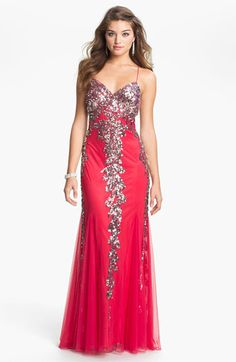 Faviana Embellished Mesh Gown (Online Exclusive) available at Nordstrom