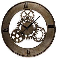 Open Back Metal Gear Clock - eclectic - clocks - atlanta - by Iron Accents