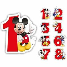Candles Minnie & Mickey Mouse Happy Birthday Cake Numbers Boy Girl Party Picture 3 of 4 Baby Mickey, Happy Birthday Mickey Mouse, Mickey Mouse Classroom, Fiesta Mickey Mouse, Mickey Mouse Clubhouse Birthday Party, Mickey Mouse And Friends, Happy Birthday Cakes, Minnie Mouse, Imprimibles Mickey Mouse