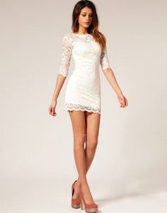 I love this short white lace dress!