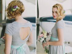 Eco-Friendly Airplane Hanger Wedding: Caitlin + Steven ( I love the bridesmaids dresses )