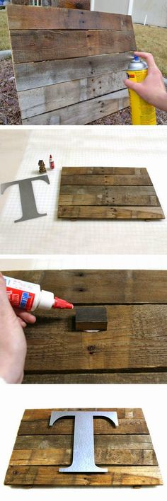 Pallet crafts: How to Make a Reclaimed Wood Monogram Wall Plaque . Pallet Crafts, Pallet Art, Metal Crafts, Wood Crafts, Diy Crafts, Pallet Ideas, Pallet Signs, Wood Ideas, Pallet Projects