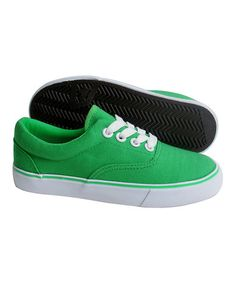 Loving this Dark Green Canvas Sneaker - Kids on #zulily! #zulilyfinds