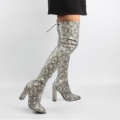 9a62f4f5bd Snakeskin toggle over thigh high boots