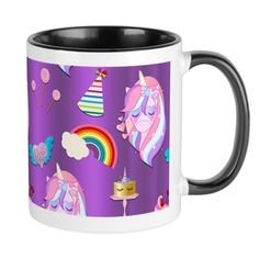 Unicorn Sweets Birthday Purple 11 oz Ceramic Mug Unicorn Sweets Birthday Purple Mugs by Graphic_Allusions - CafePress Unicorn Crafts, Unicorn Art, Unicorn Birthday Parties, Birthday Party Invitations, Unicorn Foods, Mug Designs, Unicorns, Sweets, Ceramics