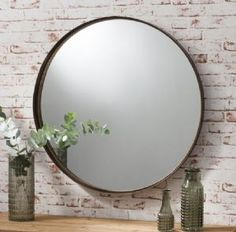 Industrial Round Mirror - Bronzed