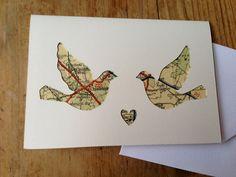 Love Birds - Handmade paper-cut card. £3.50, via Etsy.