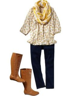 LOVE this outfit... I am all about scarves!  The boots, they are for wide calves... finally, boots for curvy girls!