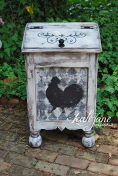 $275+45. Hand Painted Rustic Farmhouse French Country Rooster Wood Trash Box Bin Can