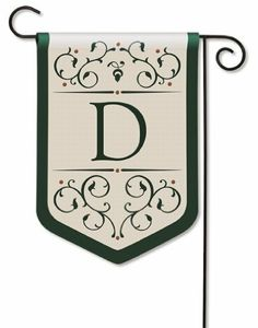 "Grande Manor Monogram ""D"" Garden Flag by BreezeArt. $18.37. 12.5"" x 18"". Stylish garden scrollwork is exquisitely embroidered in Hunter Green and Copper on Light Khaki for a stately, upscale look. Superior quality 3-ply applique construction makes Grande Manor flags readable front and back."