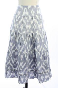 BOSTON PROPER Blue White PRINTED Tiered PEASANT Boho ALINE Dress SKIRT M 8