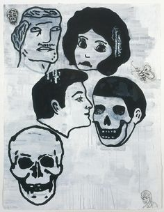 Donald Baechler CROWD (SKULLS) #1, 2006 Gesso, flashe, graphite and paper collage on paper 52 x 40 inches