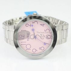 Pink cute numeric steel strip watch