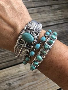 """""""The Bohemian Drifter"""" ~ Turquoise & Silver Cuff Bracelet Set – Lil Bee's Bohemian silver cuff bracelets Bohemian style is back again! Let's spice up your look for this season! Turquoise Cuff, Turquoise Jewelry, Turquoise Bracelet, Silver Chain Necklace, Sterling Silver Bracelets, Silver Ring, Silver Earrings, 925 Silver, Bridal Necklace"""