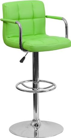 Special Offers - 2 Pk. Contemporary Green Quilted Vinyl Adjustable Height Bar Stool with Arms and Chrome Base - In stock & Free Shipping. You can save more money! Check It (June 20 2016 at 04:02AM) >> http://kitchenislandusa.net/2-pk-contemporary-green-quilted-vinyl-adjustable-height-bar-stool-with-arms-and-chrome-base/